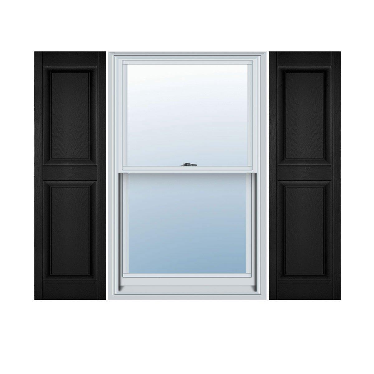 Ekena Millwork LP2C18X06000BL Custom Two Equal Panels, Raised PanelShutter (Per Pair)18''W x 60''HBlack by Ekena Millwork