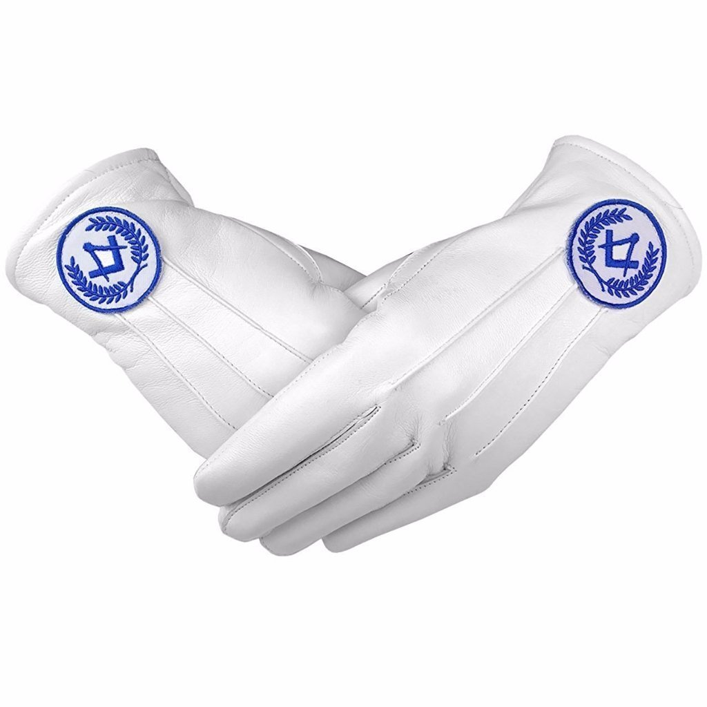 レンガMasons Masonic Regaliaホワイトソフトレザー手袋正方形コンパスブルー Large  B07CKM3RZB