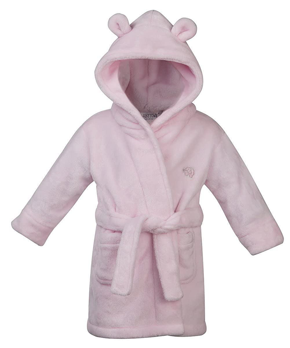 Baby Boys and Girls Soft Plush Flannel Fleece Hooded Dressing Gown 6-24 Months