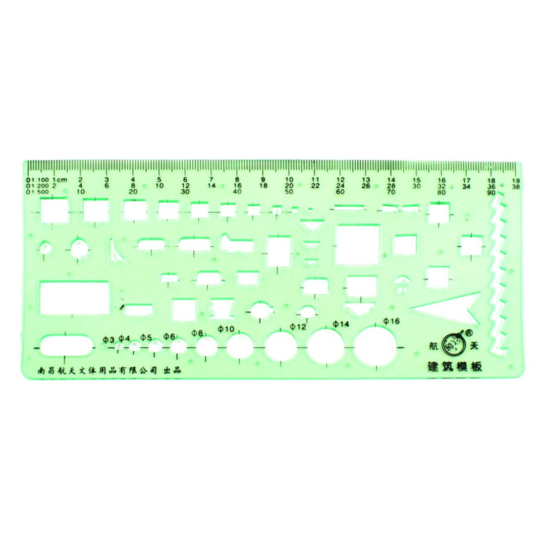 uxcell Stationery Scale Drafting Structure Construction Template Ruler Green a15051900ux0276