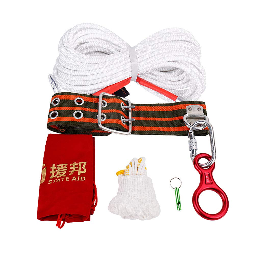 Ping Bu Qing Yun Household Fire Rescue Rope Escape Descending Lifeline Safety Fire Four-Piece Suit Multi-Length Optional Climbing Rope (Size : 50m)