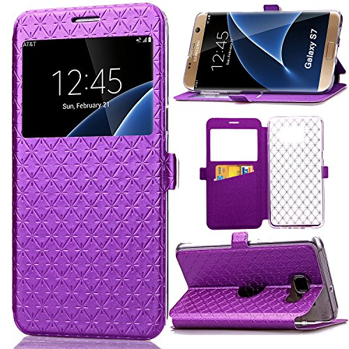 S7 Case, Galaxy S7 Case, ArtMine Quilted Plain Color Window View Function PU Leather Flip Folio Book Style Card Slots Kickstand Wallet Phone Case for Samsung Galaxy S7 Purple