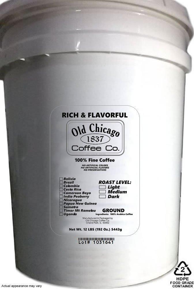 12 Lbs Bulk Ground Coffee ( 5 Gallon Bucket of Coffee ) - 192 Oz. (5,443g)