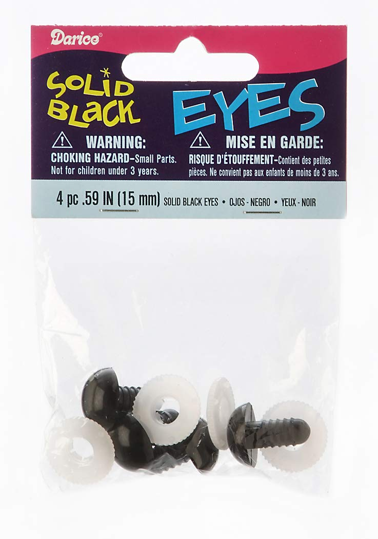 15 mm Darice 51615 Eye Solid Black with Washer