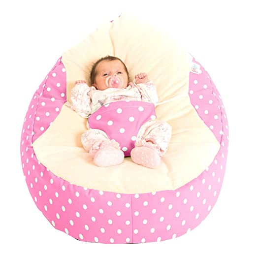 Rucomfy Luxury Cuddle Soft Polka Dot Gaga Baby Bean Bags Pink
