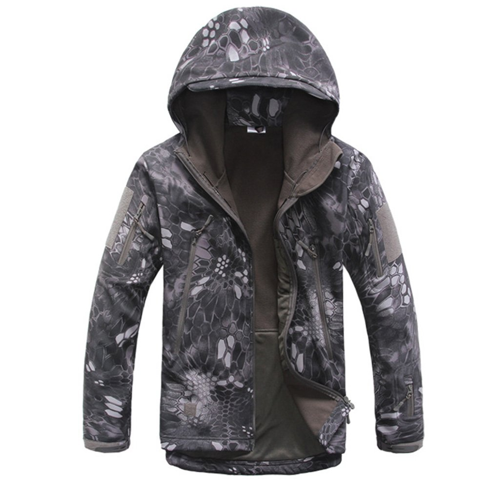 Eglemall Men's Outdoor Hunting Soft Shell Waterproof Tactical Fleece Jackets (M, Python Black) by Eglemall