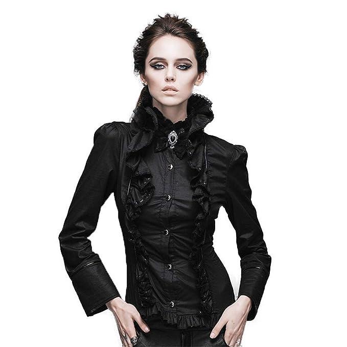 Betrothales Mujeres Tops Camisas Camisetas Gothic Blusa Punk Stand Court Collar Temperament Lolita Camisa Casual Vintage Manga Larga Blusa Camiseta Slim ...