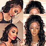 Fushen Hair Short Wigs for Black Women Glueless Full Lace Human Hair Wigs with Bleached Knots Baby Hair 8A Virgin Brazilian Virgin Human Hair Bob Wigs(12inch with 150% density, full lace wig)