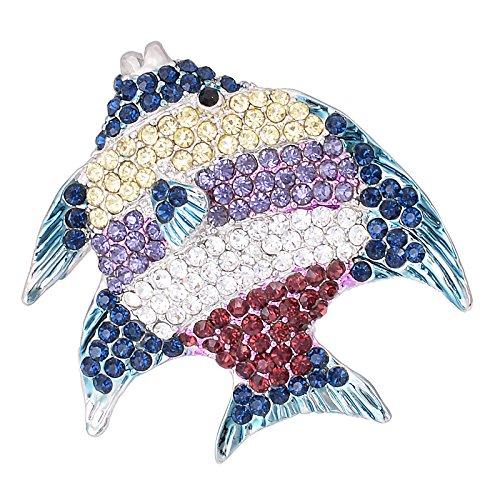 Fenni Crystal Starfish Conch Shell Crab Fish Marine Organism Sea Ocean Life Creatures Star Brooch Pin (Purple Fish)