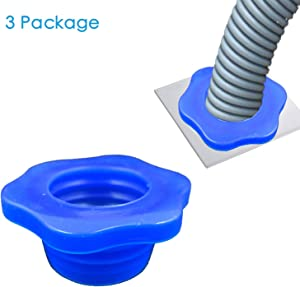 3 Pack Blue Flower Shape Drain Pipe Hose Deodorant Silicone Plug Sewer Seal Ring for Washing Machine Laundry Room Bathroom Bathtub
