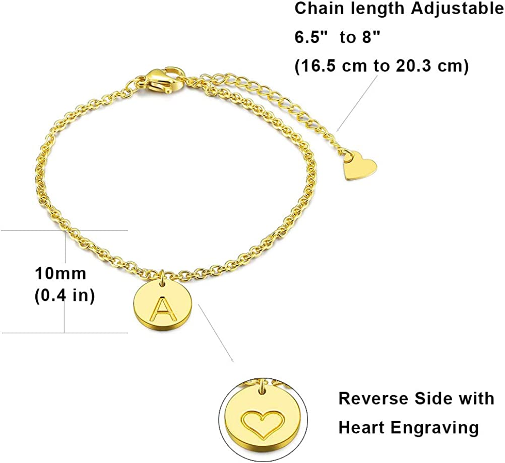 6.5+1.5 Three Keys Jewelry Rose Gold//Silver Tone Initial Bracelet 316L Stainless Steel Disc Pendant Letter Alphabet