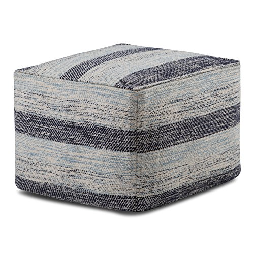 Simpli Home AXCPF-07 Clay Transitional Square Pouf in Patterned Blue Melange Cotton (Knitted Pattern Ottoman For Pouf)