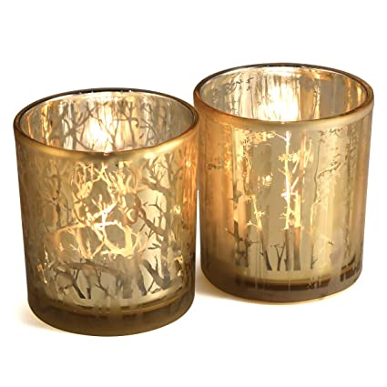 cf5fb64c6f lEPECQ Gold Wedding Decor Votive Candle Holders, Gold Forest Votive Holders,  Decorative Candle Holders