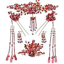 GTVERNH-Chinese Style Wedding Costume Headdress Antiquity Fazan Bride Wedding Red Tassels Wedding Accessories