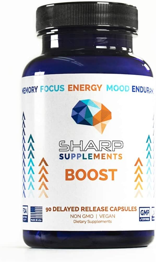 Boost by Sharp Supplements Brain Supplement for Focus Memory Nootropics, Supplements for Mental Performance Gingko Biloba, Alpha GPC, Bacopa Monnieri, Rhodiola Rosea Focus Supplements