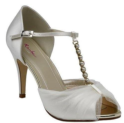 b8604ce29a56 Rainbow Club Adrianna - Peep Toe Wedding Sandal with Diamante Embellished  T-Bar - UK