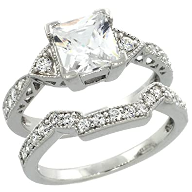 Sterling Silver Vintage Style 2-Pc size 9 6mm wide 1//4 in. Engagement Ring Set w// Brilliant Cut CZ Stones
