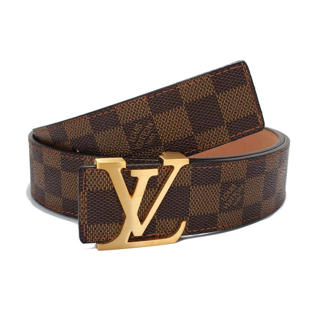 New LV Fashion Leather Brown Belt with Box