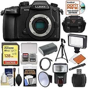 Panasonic Lumix DC-GH5 Wi-Fi 4K Digital Camera Body with 128GB Card + Battery + Case + Tripod + Flash + LED Video Light Kit