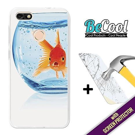 BeCool Funda Gel Flexible para Huawei Y6 Pro 2017 + 1 Protector Cristal Vidrio Templado,