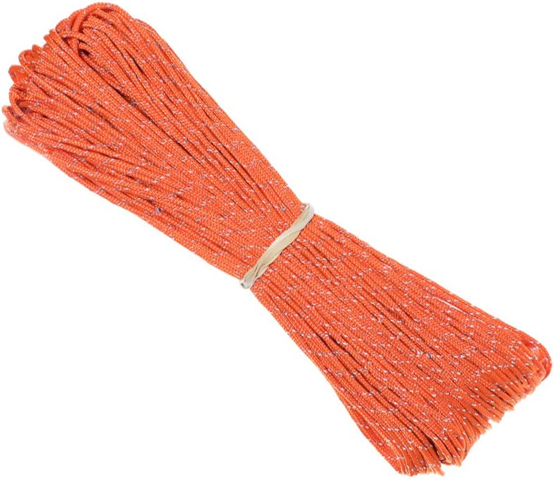 1.8 MM Fluorescent Reflective Guyline Tent Rope - 95 Paracord for Camping - 65 Feet (20 Meters) Length
