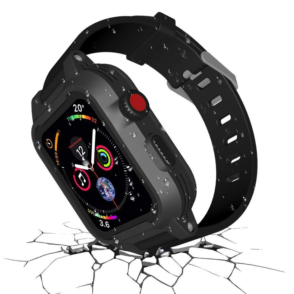 Waterproof Apple Watch Case 42mm Series 3 & 2 with 2 Watch Bands, Waterproof case for 42mm Apple Watch Heavy Duty Impact Resistant iWatch Case Shockproof Cover Built-in Screen Protector (42mm Only)
