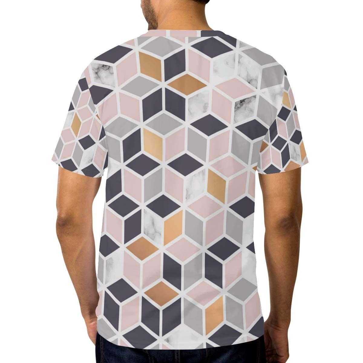 Horatiood Huberyyd Honeycomb Marble Pattern Mens T Shirts Graphic Funny Body Print Short T-Shirt Unisex Pullover Blouse