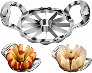 Apple Slicer Corer Cutter Heavy Duty, Apple Cutter 4INCH Extra Large, Ultra Sharp 12 Blades 【UPGRADED &REINFORCED】 Stainless Steel Core Remover Tool, Pear Onion Divider Wedger Easy Grip