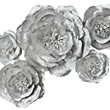 crepe paper silver - Paper Flower Decoration, Handcrafted Flowers, Crepe Paper Flowers Shiny Silver Set Of 5 For Wedding Backdrop, Baby Shower, Nursery Wall Decorations,Garden Party Photo Booth,Bridal Shower,Archway Decor