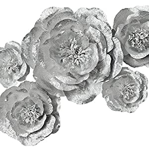 Paper Flower Decoration, Handcrafted Flowers, Crepe Paper Flowers Shiny Silver Set Of 5 For Wedding Backdrop, Baby Shower, Nursery Wall Decorations,Garden Party Photo Booth,Bridal Shower,Archway Decor 7
