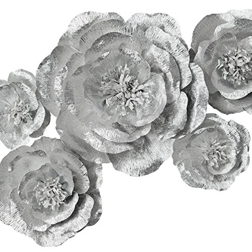 Paper Flower Decoration, Handcrafted Flowers, Crepe Paper Flowers Shiny Silver Set Of 5 For Wedding Backdrop, Baby Shower, Nursery Wall Decorations,Garden Party Photo Booth,Bridal Shower,Archway Decor by Memory Journey