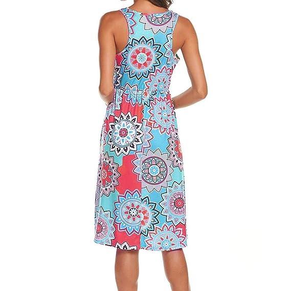 ❤ Vestido de Bolsillo con Cintura elástica de Mujer, Vestido de Fiesta de Vestido Casual de Cintura elástica sin Mangas Absolute: Amazon.es: Ropa y ...
