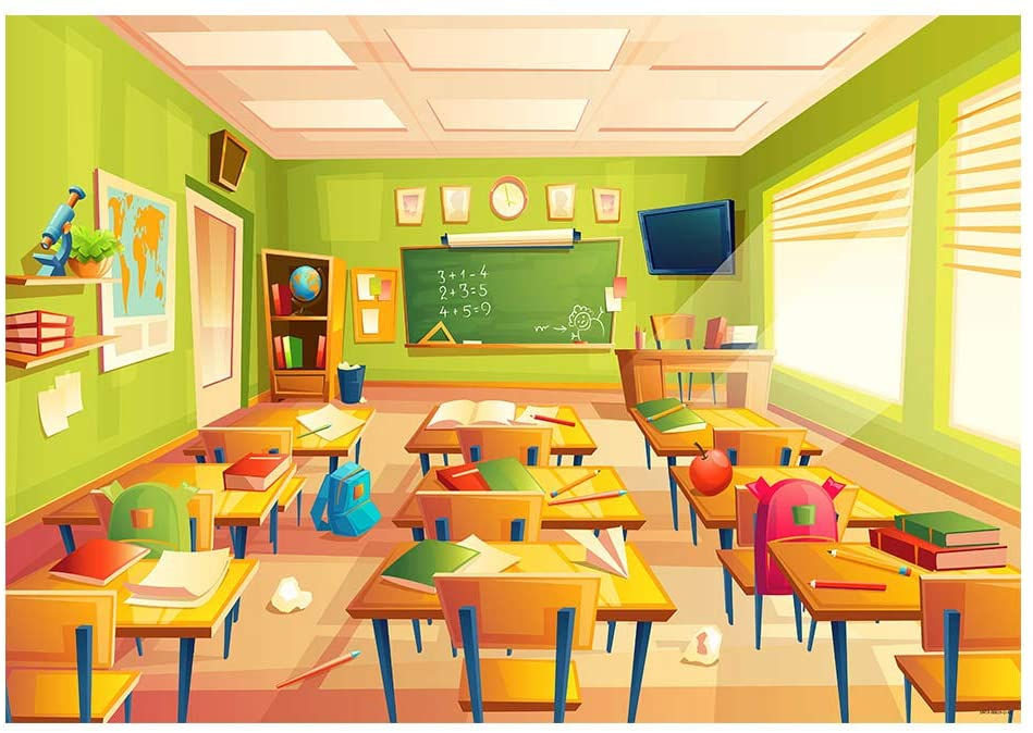 7x5ft Classroom Backdrop Wooden Desks and Chairs Photography Background Welcome Back to School Graduation Ceremony Students Teacher Portraiting Shooting Vinyl Photo Studio Drapes