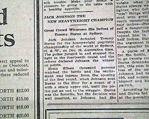 JACK JOHNSON Becomes 1st Black to Win Heavyweight BOXING Title - 1908 Newspaper THE BETHLEHEM TIMES, Pennsylvania, Dec. 26, 1908