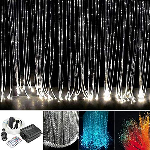 Huaxi 16W RGBW Fiber Optic Sensory Lights kit for Sensory den Waterfall Curtain Light with Flash Point Fiber Optical Cables 300 Strands 0.03in/0.75mm 9.8ft/3m