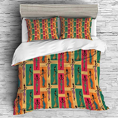 3 Pieces (1 Duvet Cover 2 Pillow Shams)/All Seasons/Home Comforter Bedding Sets Duvet Cover Sets for Adult Kids/King/Afro Decor,Ethnic Ladies Posing with Vases Native Elegance Moroccan Arabesque Artfu