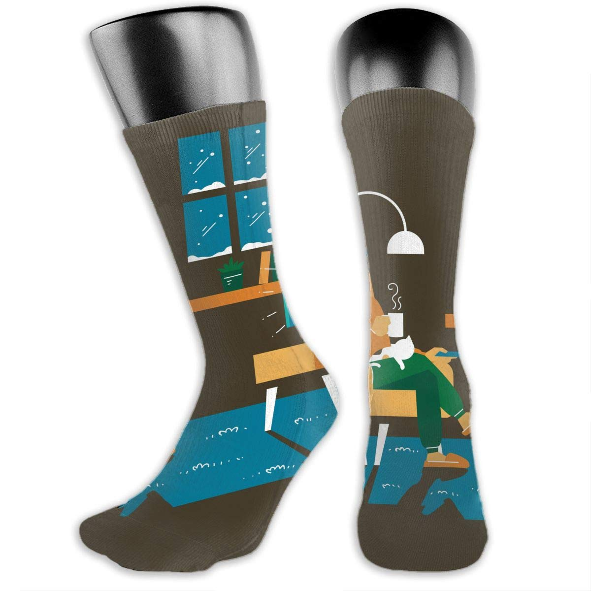 OLGCZM A Man Getting Cozy at The Living Room in Winter Men Womens Thin High Ankle Casual Socks Fit Outdoor Hiking Trail