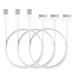 JETech USB Sync and Charging Cable for iPhone 4/4s, iPhone 3G/3GS, iPad 1/2/3, iPod, 3.3 Feet, 3-Pack, White