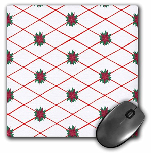 3dRose CherylsArt Holidays Christmas - Red Criss Cross Diamond Pattern with Painted Red and Green Poinsettias Flowers - MousePad (mp_77682_1)