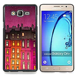 Stuss Case / Funda Carcasa protectora - Edificio de la noche púrpura Luces - Samsung Galaxy On7 O7