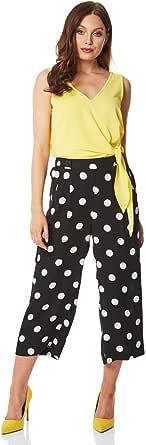 Roman Originals Culottes de lunares para mujer – Ropa de día casual para el trabajo diario inteligente de verano vacaciones recortada longitud al tobillo ajuste suelto pantalones de los años 40