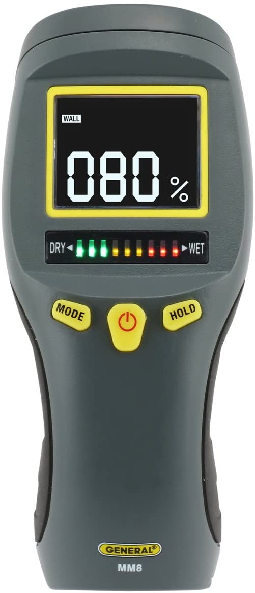 General Tools MM8 Pinless LCD Moisture Meter with Tricolor Bar Graph, black/white