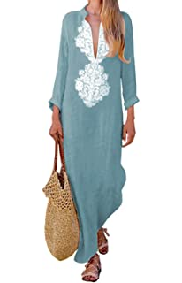 230427e255715 ASSKDAN Femme Bohème Kaftan Robe Longue Maxi Coton Col V Mangches Longue  Imprimé Floral Tunique Robe