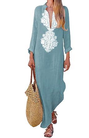 1fd48b13890 Asskdan Women s Plus Size Cotton Linen Long Sleeve Solid Loose V Neckline Boho  Long Dress Kaftan
