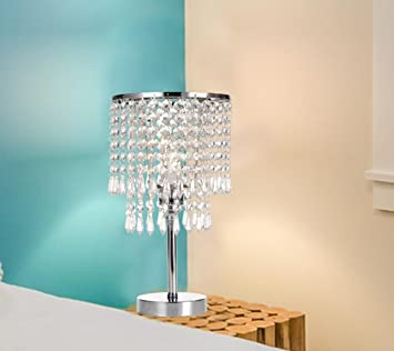 Amazon.com: Lámpara de mesita de noche moderna de cristal de ...