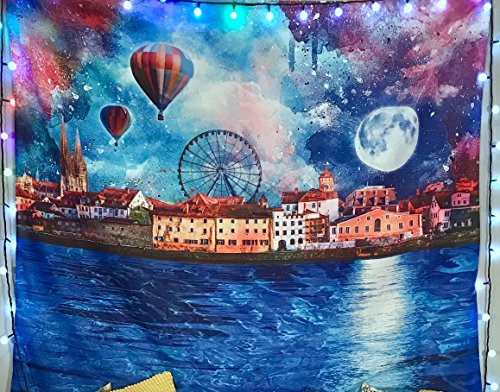 Wonderland Tapestry- Night Sky Wall Decor- City Skyline Wall Hanging- Blue Purple Tapestry- Premium Large Tapestry by Lucid Eye Studios 51x58 inches