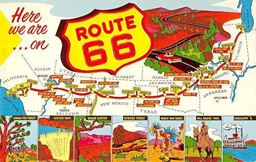 Route 66 Greetings Map View Roadside America Vintage Postcard JA4741340