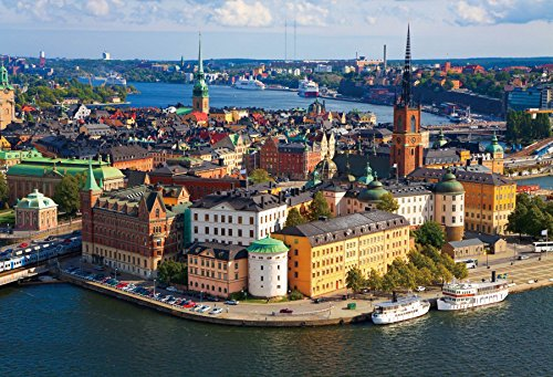 OFILA Sweden Backdrop 8x6.5ft the Panorama of Stockholm City Landscape Old Town Capital Landmark Honeymoon Trip Churach Palace Photos Northern Europe Scenery Skyline Ancient Scandianvia Shoots Props (Real Photo Sweden)