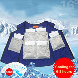 Cooling Vest Outdoor Ice Vest with 6 Refrigeration Zones Maintain Cooling for 6-8 Hours Cooling Vest for Women Men Summer Cooling Vest for Riding, Auto Repair Workshop, Production Workshop
