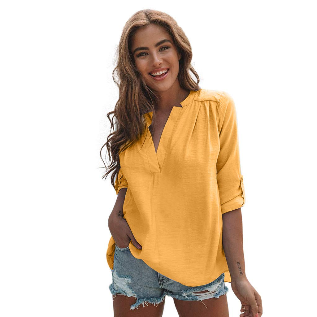 Women Cotton Linen Casual Solid Long Sleeve Shirt Blouse Button Down Tops Long Sleeve Cotton Shirt and Pleated Yellow